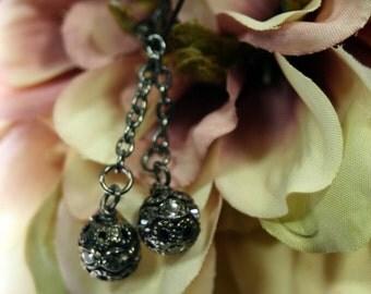 Black Velvet Gunmetal Swarovski Dangle Earrings Shipping Included