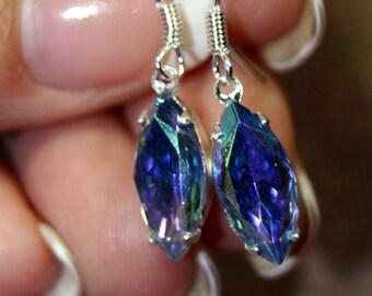 Northen Lights Darling Petite Vintage Rhinestone Earrings Sterling Silver