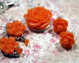 Cabbage Rose Necklace & 2pr Earring Set Silver Choice of BRIGHT GREEN or TANGERINE