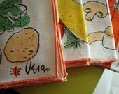 vintage Vera table napkins summer salad vegetable recipe cotton linen retro VIN