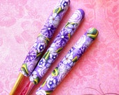 Crochet Hook Set, Bates, Polymer Clay Floral - Purple Lovers