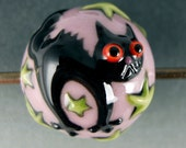 Black Cat Bead - Puuurrrrrfect for Halloween - Handmade Colored Porcelain Bead