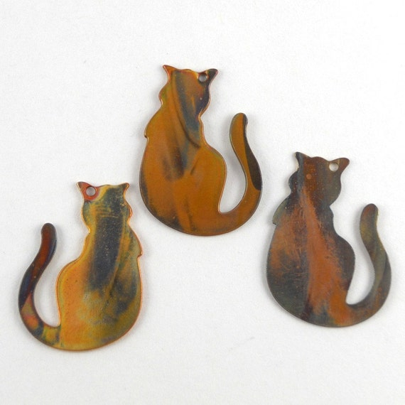 Three Little Kitties Copper Charms