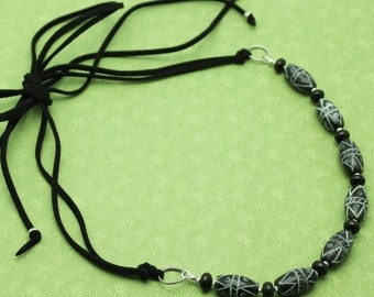 SALE - Black Antiqued Jade and Leather Necklace