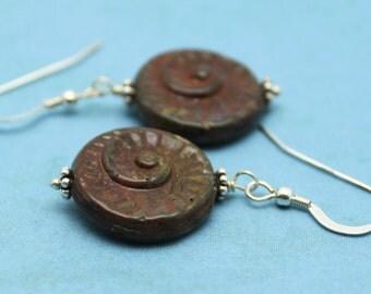 SALE Rusty Brown Nautilus  Earrings