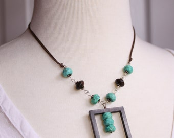 SALE - Tiger Ebony and Turquoise Necklace
