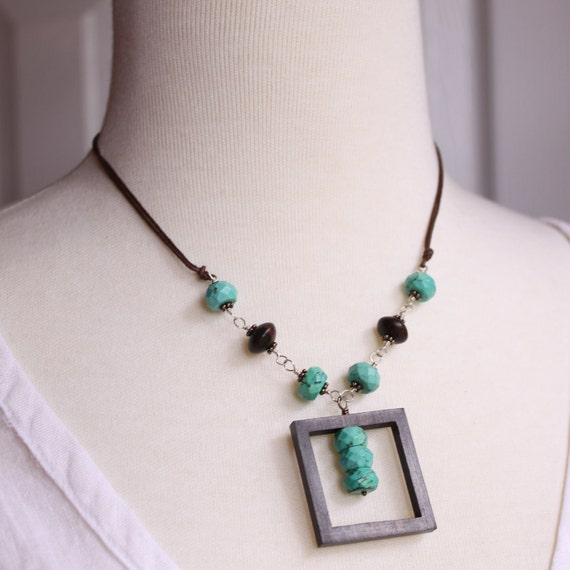 SALE 50% OFF- Tiger Ebony and Turquoise Necklace
