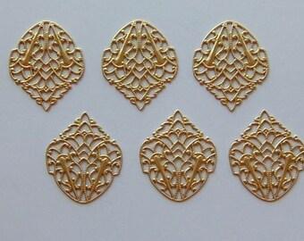 12 pc Brass Ornate Crest Filigree Findings