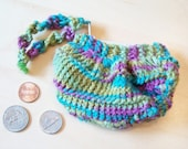 Coin Purselet - Gathered Knit Zippered Coin Purse - Cool Rainbow - GreeKnit
