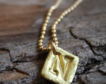 22k Gold Initial Bead Chain Necklace