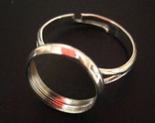 5 silver plated 12mm bezel ring bases,  lead and nickel free ring settings for resin and cabochons