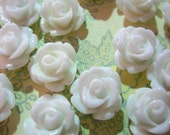 10mm white round floral rose cabochons, pick your amount