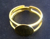 10mm adjustable ring blanks, gold plated ring bases, pick your amount