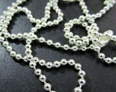 10 silver plated ball chain necklaces, 24 inches, 2.4mm  (larger diameter)