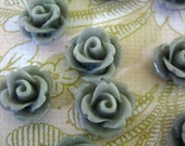 12 10mm grey rose cabochons, cute gray round flower cabs