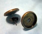 12mm Bezel Stud Earrings, Brass Plated, Pick Your Amount