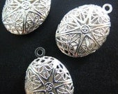 16x24mm oval filigree diffuser lockets, silver plated, pick your amount