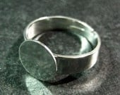 20 silver plated 10mm ring base, wide band adjustable lead and nickel free ring blanks settings