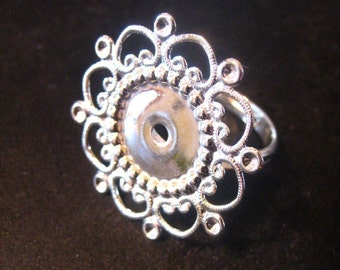 28mm adjustable filigree ring blanks, silver plated, pick your amount, A281