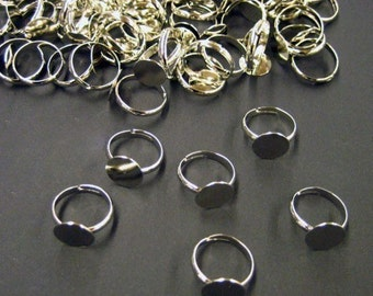 10mm silver plated adjustable ring blanks, lead and nickel free rings bases