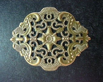 8 beautiful antique brass filigree stampings 44x34mm (lead and nickel free)