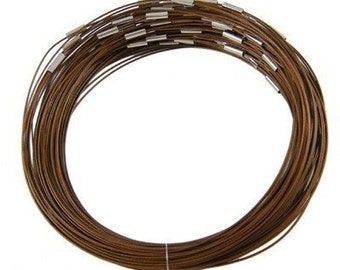 Brown stainless steel wire necklaces, 17.5 inch choker with smooth screw clasps, perfect for scrabble tiles, etc..