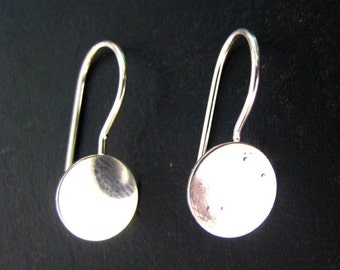 8mm silver plated earring blank hooks, pick your amount