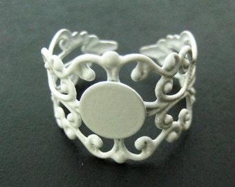 8mm white enamel filigree rings adjustable ring bases A163