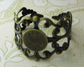 8mm brass adjustable filigree rings bases, lead and nickel free