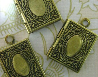 12 mini book locket charms, antique brass finish, petite 11x14mm, lead and nickel free