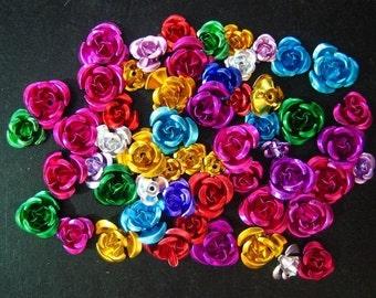 50 beautiful mixed aluminum rose beads