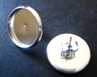 14mm bezel earring stud settings with ear nuts, silver plated, pick your amount