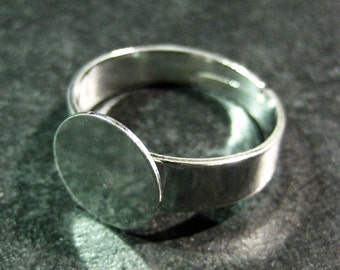 10 10mm ring bases, silver plated, blank adjustable ring findings with a wide band