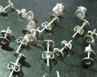 6mm flat pad silver plated ear studs with ear nuts, pick your amount