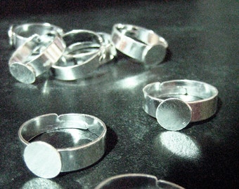 8mm adjustable ring base, silver plated, Pick your amount, A77