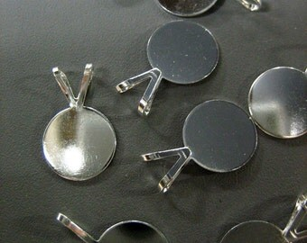 10 10mm pendant pad bails, silver plated, lead and nickel free, for gluing on cabochons
