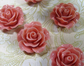 10 pinky coral 20mm rose resin cabochons, beautiful flower cabs