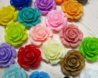 10 multicolor 20mm rose cabochons limited colors