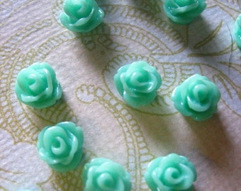 12 aqua 7.5mm rose cabochons, round resin flower cabs