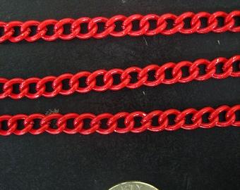 5 feet red enamel kawaii curb chain 6mm x 4mm