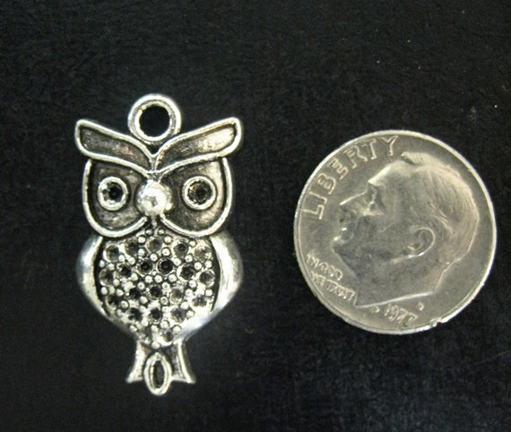 owl bird charm pendants, silver plated (pick the amount you want to purchase)