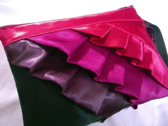 Wine Grape Eggplant and Black satin ruffle clutch