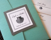 Seashells and Sea Creatures Elegant Pocket Folder Invitation
