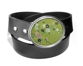 Buckle in Green Silk Brocade Traditional Blossom with Leather Belt by Shi Studio