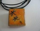Handpainted Scrabble Tile Pendant - dragonfly
