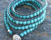 Faceted Turquoise and Black Leather Wrap Bracelet