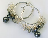 ON SALE Graphite Pearl and Crystal Hoop Earrings