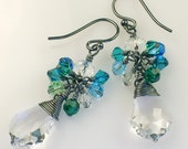 ON SALE Baroque Crystal Oxidized Drop Earrings
