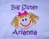 Custom Embroidered Personalized Big Sister T Shirt Match Skin Hair and Eye Colors
