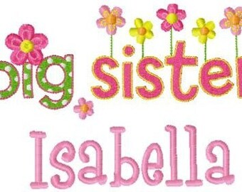 Custom Personalized Girls Big Sister Sibling T shirt Flowers Cute Adorable New